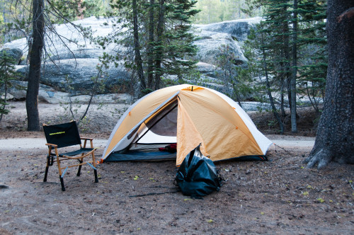 The camp set up looks minimalist, but everything  necessary for a comfortable night's sleep!